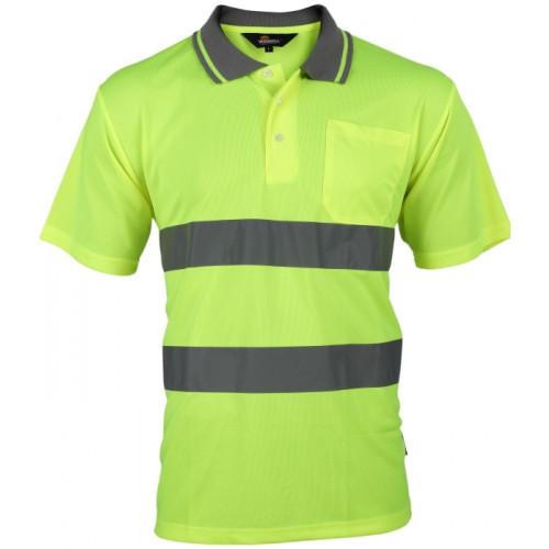 Koszulka polo ostrzegawcza o intensywnej widzialności żółta Vizwell VWPS01-BY