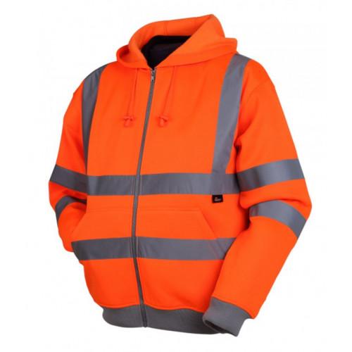 Bluza ostrzegawcza z kapturem pomarańczowa Vizwell VWFC14O/M