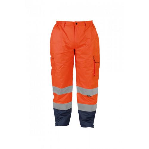 Spodnie ostrzegawcze ocieplane 300D typu OXFORD pomarańczowe Vizwell VWJK187O/M