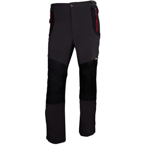 Spodnie softshell szaro-czarne z czerwonymi elementami Vizwell VWJK398