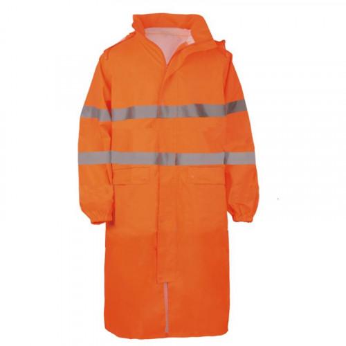 Długie płaszcze przeciwdeszczowe ostrzegawcze pomarańczowe Vizwell VWJK67LO