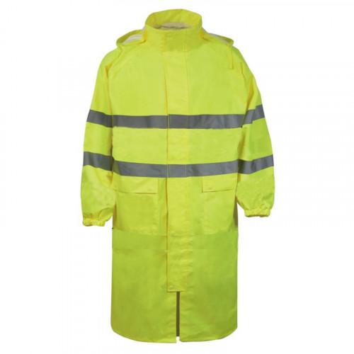 Długie płaszcze przeciwdeszczowe ostrzegawcze żółte Vizwell VWJK67LY