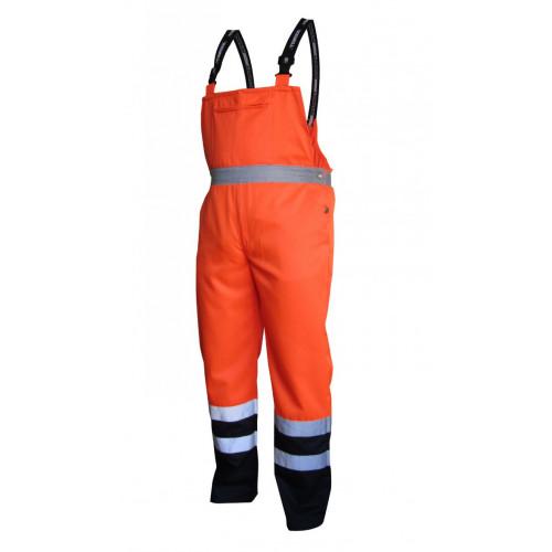 Spodnie robocze ostrzegawcze pomarańczowo-granatowe na szelkach Vizwell VWTC08-BON