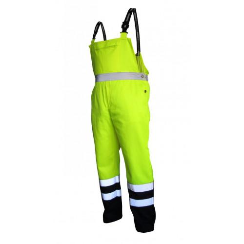 Spodnie robocze ostrzegawcze żółto-granatowe na szelkach Vizwell VWTC08-BYN