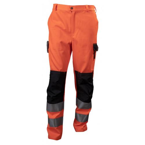 Spodnie robocze ostrzegawcze pomarańczowo-czarne Vizwell VWTC149OB