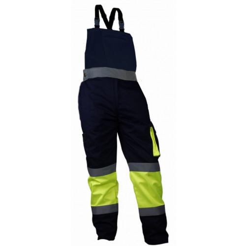 Spodnie robocze na szelkach ostrzegawcze Vizwell VWTC150YN