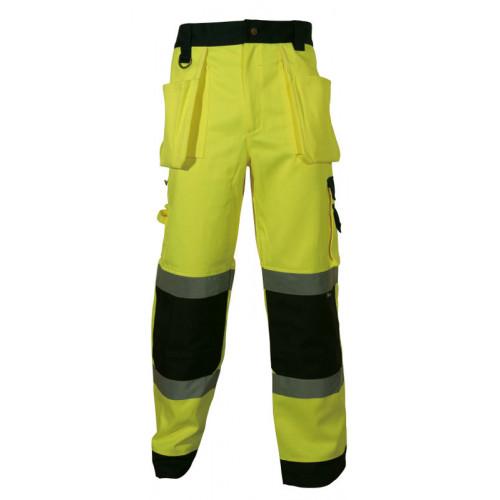 Spodnie robocze ostrzegawcze żółto-granatowe Vizwell VWTC64BYN/L