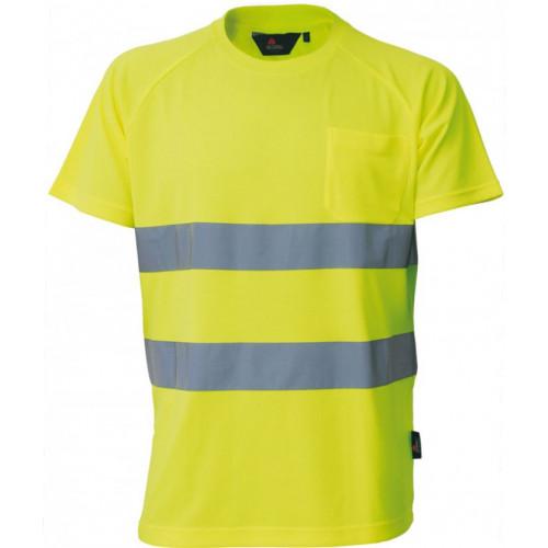 T-shirt ostrzegawczy żółty Vizwell VWTS01-BY/XL