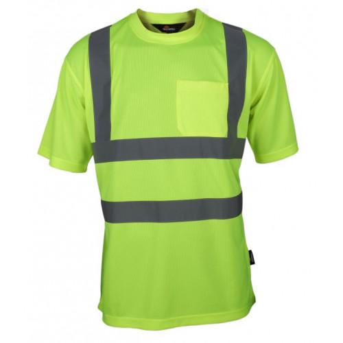 T-shirt ostrzegawczy żółty Vizwell VWTS03-BY