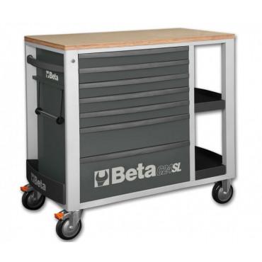 Wózek narzędziowy z siedmioma szufladami i bocznymi półkami Beta C24SL-2400SL