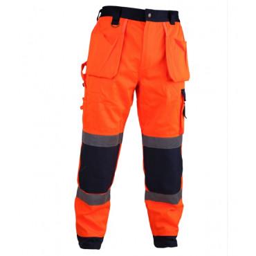 Spodnie robocze ostrzegawcze pomarańczowo-granatowe Vizwell VWTC64-BON