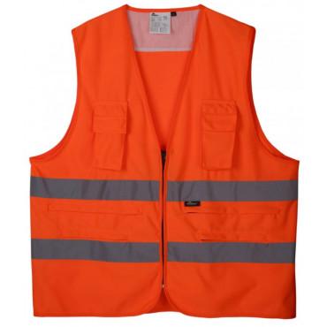Kamizelka ostrzegawcza z kieszeniami pomarańczowa Vizwell VWEN01-SO