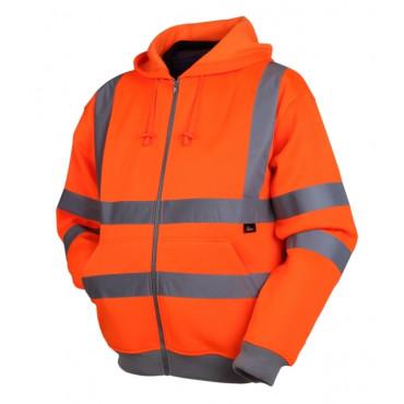Bluza ostrzegawcza z kapturem pomarańczowa Vizwell VWFC14O