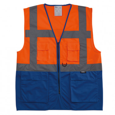 Kamizelka ostrzegawcza pomarańczowo-niebieska Vizwell VWRW01SB-OB
