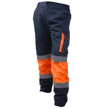 Spodnie ostrzegawcze do pasa pomarańczowo-granatowe Vizwell VWTC17ON